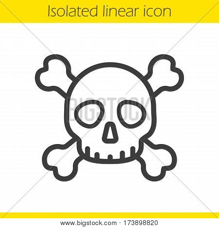 Skull with crossbones linear icon. Death sign. Thin line illustration. Poison danger contour symbol. Vector isolated outline drawing