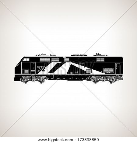 Locomotive Silhouette Isolated, Rail Transport, Vehicle on Light Background, Train ,Rail Transportation