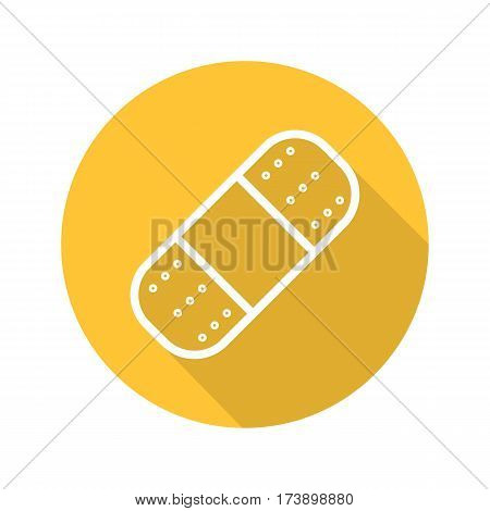 Plaster flat linear long shadow icon. Adhesive band aid. Vector line symbol