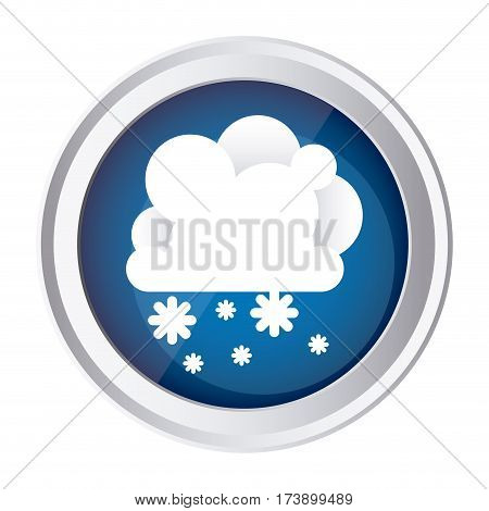 color circular frame and blue background with cumulus of clouds and snow fall vector illustration
