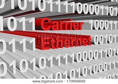carrier ethernet as a binary code 3D illustration