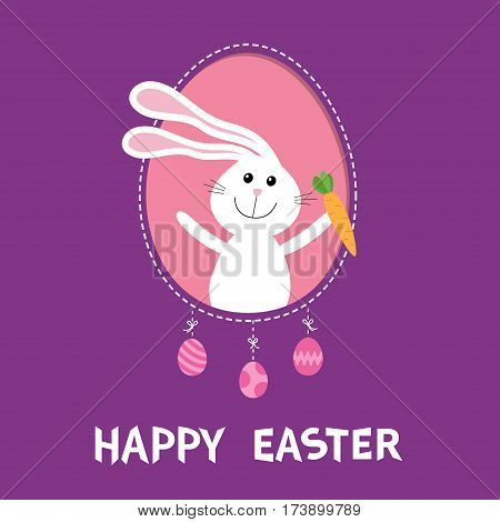 Happy Easter. Bunny rabbit hare holding carrot inside frame window. Dash line contour. Hanging painted egg set. Cute cartoon character. Baby greeting card. Violet background. Flat design. Vector