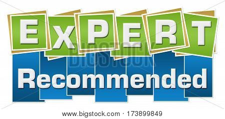 Expert recommended text written over green blue background.