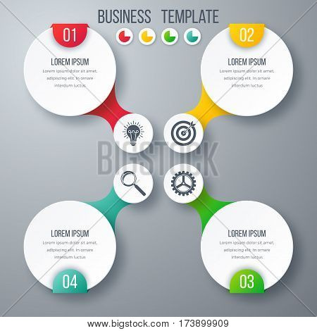 Infographics template four options with circles. Can be used for workflow layout, diagram, number options, step up options, web design, presentations