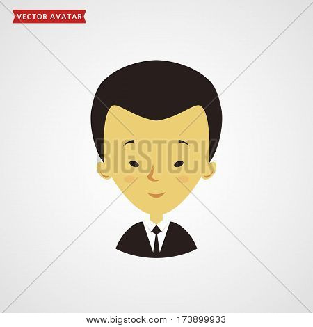 Face of asian man. Сute avatar. Businessman in formal suit. Vector icon isolated on white background.