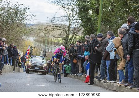 Conflans-Sainte-HonorineFrance-March 62016: The Italian cyclist Matteo Bono of Lampre-Merida Team riding during the prologue stage of Paris-Nice 2016.