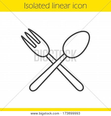 Eatery linear icon. Thin line illustration. Crossed fork and spoon contour symbol. Vector isolated outline drawing