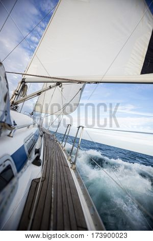 Luxury Sail Boat Sailing On Sea
