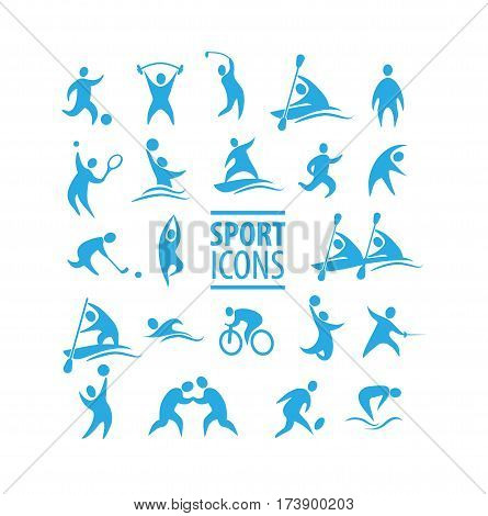 Vector illustration Set of sport icons. 22 pieces