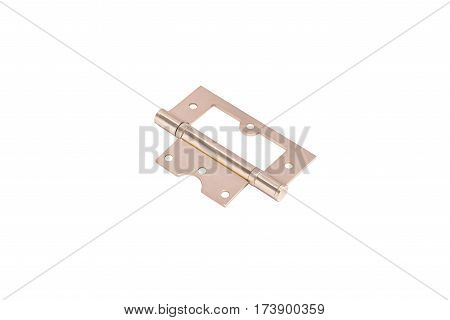 gold simple hinge isolated on white background.