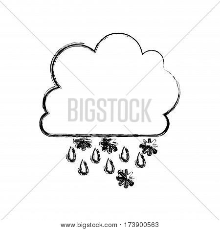 monochrome blurred contour with cumulus of clouds with rain vector illustration