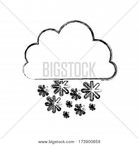 monochrome blurred contour with cumulus of clouds and snow fall vector illustration