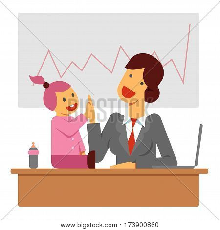 A flat vector image of a businesswoman with a baby girl success succeed team teamwork