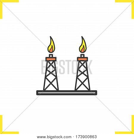 Gas tower color icon. Gas derrick. Isolated vector illustration