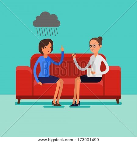 Psychological counseling concept. Two cartoon people sitting on the sofa. Flat design, vector illustration