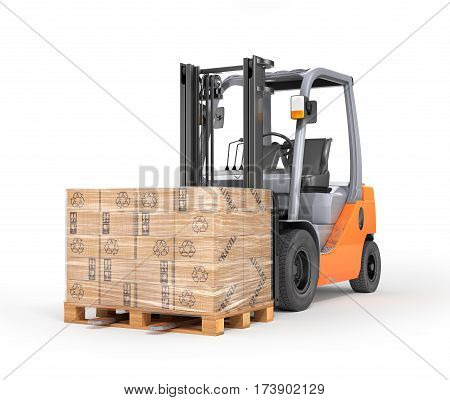 Forklift with boxes in a pallet. Isolated white background. 3d illustration