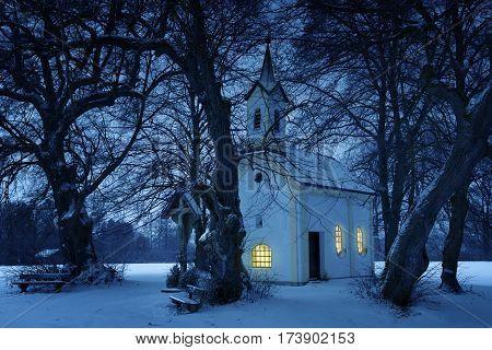 Chapel St. Wolfgang In Winter In Bavaria
