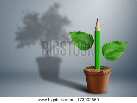 new idea creative concept pencil growing from pot