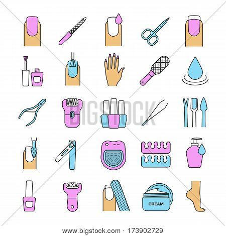 Manicure and pedicure color icons set. Nail polish, scissors, epilator, spa bath, soap, cream, tweezers, foot rasp, cuticle nipper. Isolated vector illustrations