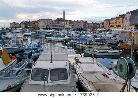 The Picturesque Port Of Rovinj On Croatia