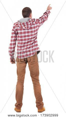 Back view of  pointing young men in  plaid shirt with hood. Young guy  gesture. Rear view people collection.  backside view of person.  Isolated over white background.