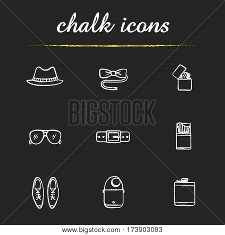 Men's accessories chalk icons set. Homburg hat, butterfly bow tie, flip lighter, sunglasses, leather belt and shoes, cigarette pack, shoulder bag, hip flask. Isolated vector chalkboard illustrations