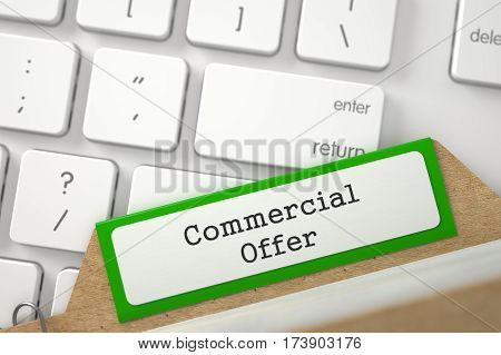 Commercial Offer written on Green Index Card on Background of White PC Keyboard. Closeup View. Blurred Illustration. 3D Rendering.
