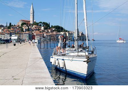 People On Boats In Front Of Rovinj On Croatia