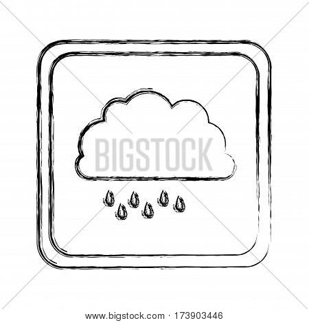 monochrome blurred square frame with cloud with drizzle vector illustration