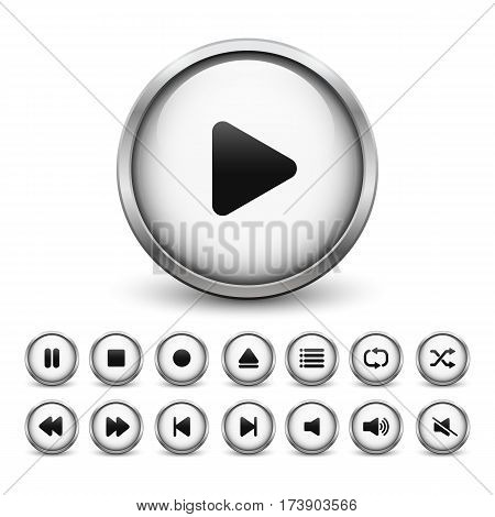 Set of white media player buttons with metal frame and shadow