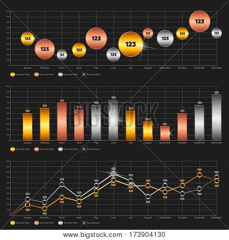 Infographics elements. Line chart, bar chart and circle diagram