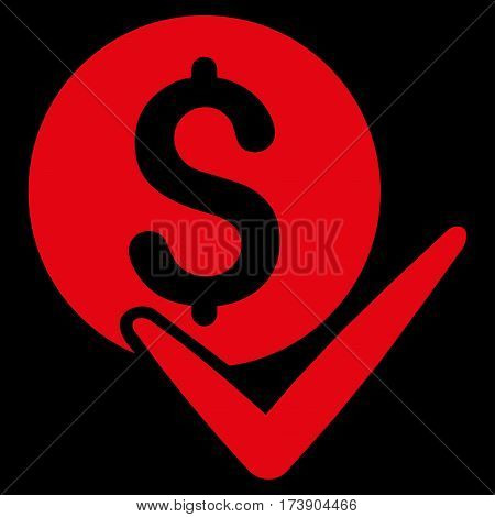 Accept Payment vector icon. Illustration style is a flat iconic red symbol on black background.
