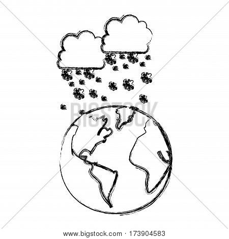 monochrome blurred contour with cumulus of clouds and snow fall over planet earth vector illustration