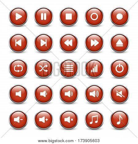 Set of red media player buttons with metal frame and shadow