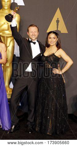 Orlando von Einsiede and Salma Hayek at the 89th Annual Academy Awards - Press Room held at the Hollywood and Highland Center in Hollywood, USA on February 26, 2017.