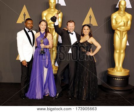 David Oyelowo, Joanna Natasegara, Orlando von Einsiede and Salma Hayek at the 89th Annual Academy Awards - Press Room held at the Hollywood and Highland Center in Hollywood, USA on February 26, 2017.
