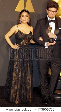Kristof Deak and Salma Hayek at the 89th Annual Academy Awards - Press Room held at the Hollywood and Highland Center in Hollywood, USA on February 26, 2017.
