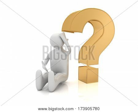 3d man sitting with question mark3d man sitting with question mark. illustration on white background