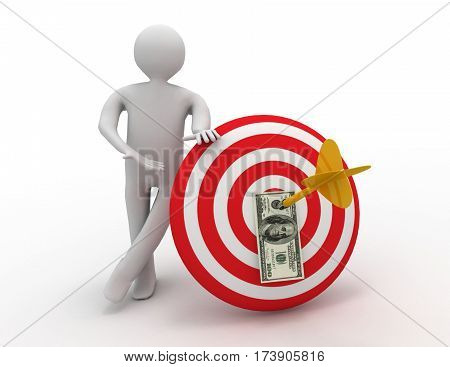 3d 3d man with target. success concept on white