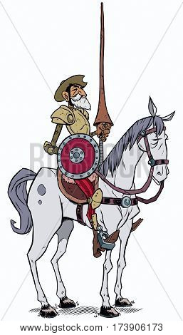 Cartoon illustration of Don Quixote of the Mancha isolated on white background.