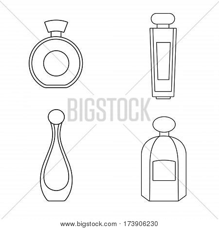 Perfume isolated silhouette on a transparent background. Perfume bottles set. Fragrance. Perfumery products. Flat style vector illustration.