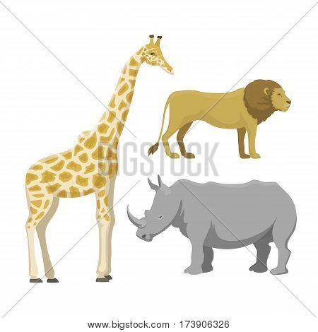 Cute giraffe cartoon savanna comic safari animal. Big rhinoceros and funny lion tropical nature wildlife safari mammal. Vector illustration of jungle characters.