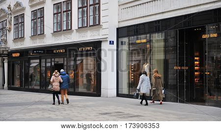 VIENNA AUSTRIA - FEBRUARY 11: Undefined people in the shopping street of Vienna on February 11 2017. Vienna is a capital and largest city of Austria.