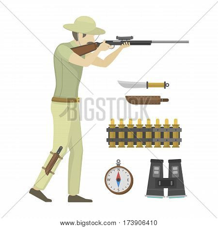 Cartoon illustration of hunter aiming rifle. Africa shotgun funny male. Explorer humor pursuit hunting sport target. Activity aim character vector illustration.