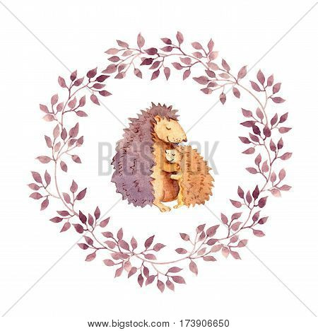 Animal hugs - mother hedgehog embrace her child. Watercolour hand painted cartoon illustration in floral wreath