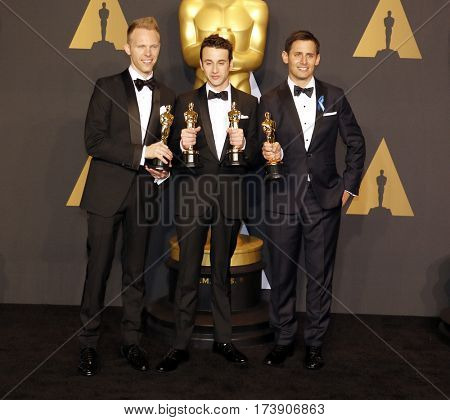 Justin Hurwitz, Benj Pasek and Justin Paul at the 89th Annual Academy Awards - Press Room held at the Hollywood and Highland Center in Hollywood, USA on February 26, 2017.