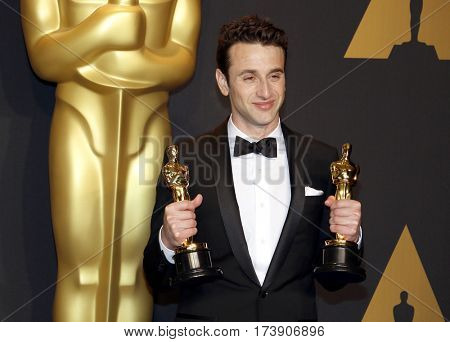 Justin Hurwitz at the 89th Annual Academy Awards - Press Room held at the Hollywood and Highland Center in Hollywood, USA on February 26, 2017.