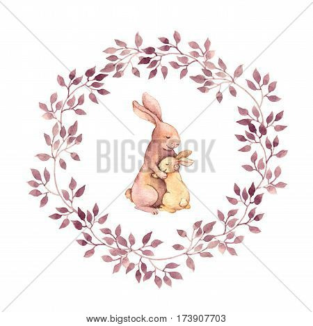 Animal hugs - mother rabbit embrace her baby. Watercolor hand painted cartoon picture in floral wreath