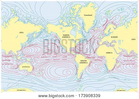 Vector world map of all ocean currents