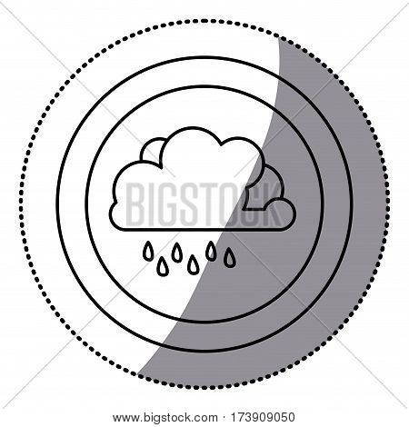 sticker monochrome circular frame with cloud with drizzle vector illustration